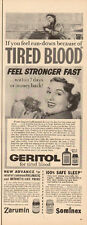 1957 vintage AD GERITOL for Tired Blood Sominex Zarumin 051515