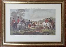 "J.F. Herring Equestrian Fox Hunt Print Framed Behind Glass ""The Meet"""
