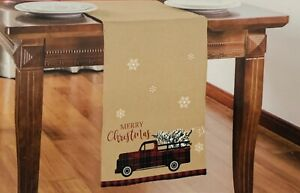 Farmhouse Christmas Red Truck W/Red Buffalo Check Trim Table Runner 13in X 68in