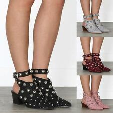 WOMENS LADIES MID HEEL STUDDED BUBBLE ANKLE STRAP MULES POINTED BOOTIES
