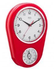 Wanduhr Retro Küchenuhr Uhr mit Eieruhr Timer ROT