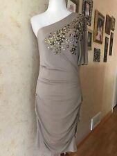 bebe Satin Beige One Shoulder Beaded Dress Size M