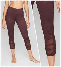 Athleta XS Jacquard Mantra Capri Tight Leggings in Burgundy | Yoga Workout NWT