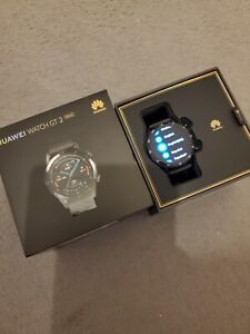Huawei Watch GT 2 46mm Black Strap Steel Case Good Condition Android IOS