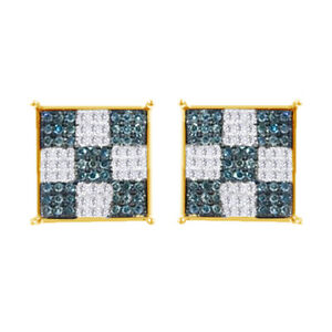 1/3 Ct Round Cut Blue Simulated 14K Yellow Gold Over Cluster Stud Earrings