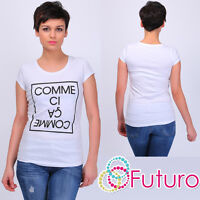 Casual T-Shirt Comme Print Crew Neck Top Party Clubwear Tunic Size 8-14 FB203
