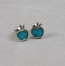 925 Sterling Silver Turquoise Apple Post Earrings - Teacher Gift Stud Earrings