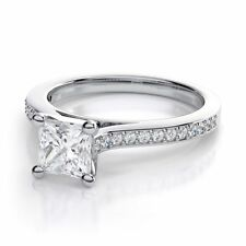Solitaire with Accents White Gold Natural Fine Rings