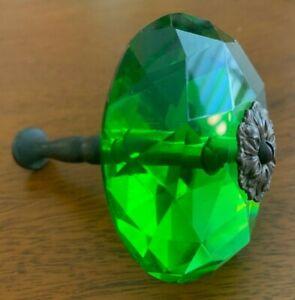 Antique Emerald Cut Green Glass Drapery / Curtain Tie-Back w Brass Shaft