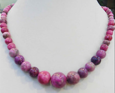 """6-14MM PINK CRAZY LACE AGATE AGATE ROUND BEADS NECKLACE 18"""""""