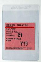 AC/DC  ULTRA RARE TICKET BIRMINGHAM 21ST DEC 1979 HIGHWAY TO HELL TOUR BON SCOTT