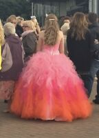 Mori Lee Prom Dress Strapless Pink and Orange with Water Fall Ruffle Size UK 12