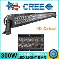 52''INCH 300W CREE LED Light Bar Flood Spot Driving Offroad 4WD 4D Optical DRL
