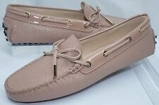 New Tod's Women's Shoes Flats Size 39.5 Beige Pink Moccasin Leather