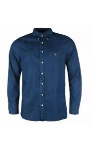 Gant Men Long Sleeve Dark Blue Indigo Cotton Casual 80s Vintage Slim Denim Shirt