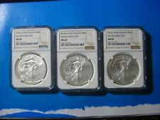 2012-S NGC MS 69 SILVER EAGLE LOT OF 3 COINS