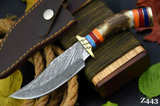 Custom Damascus Steel Hunting Knife Handmade With Stag Horn Handle (Z443)