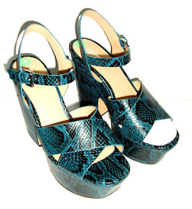NEW MICHAEL KORS Odessa LEATHER PLATFORMS Heels SHOES UK 7 Blue SNAKESKIN US10
