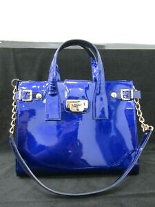 Luciano Padovan Women's Dark Blue Patent Leather Satchel Shoulder Bag Italy