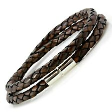 Mens Braided Leather Bracelet-Sterling Silver Twist Clasp-5mm Antique Brown