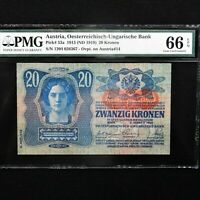 Austria 1913 (ND 1919), 20 Kronen Pick # 53a, PMG 66 EPQ Gem Uncirculated