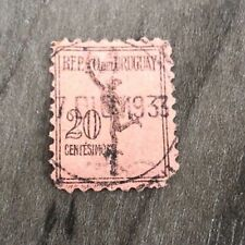 AUTHENTIC ANTIQUE URUGUAY STAMP 1933 RARE 20 CENTS VINTAGE USED