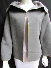 Valentino Boutique Women Gray Wool Fashion Caban Jacket Gold Metal Size 10/44