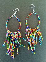 Seed Bead Multicolor Bohemian Fashion Fringe Earrings