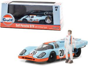 """1970 PORSCHE 917K #20 & FIGURINE """"GULF"""" 1/43 DIECAST MODEL CAR GREENLIGHT 86435"""