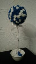 White and Royal Blue Artificial Topiary Tree