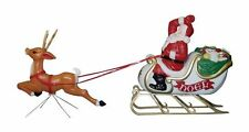 "General Foam Yard Santa Sleigh + Reindeer 72"" Blowmold Outdoor Light Christmas"