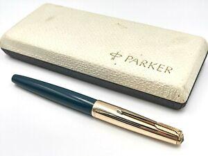 NICE UNCOMMON VINTAGE NOS? c1963 PARKER VP BLUE / 12K GF FOUNTAIN PEN 14K FINE