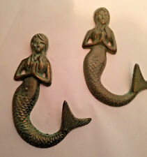 SET OF 2~NAUTICAL ANTIQUE BRONZE GREEN PRAYING MERMAID CAST IRON WALL DECOR