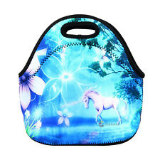 Kids Lunch Bag Zip Neoprene Thermal Insulated Cooler Carry Case Bag Tote Unicorn