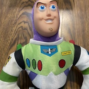 "Disney Store Toy Story BUZZ LIGHTYEAR Plush Doll Large MC 18"" Rubber Vinyl Face"