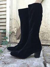 size 10 ROBERT CLERGERIE black VELVET stretch SOCK BOOTS goth witch vintage rare