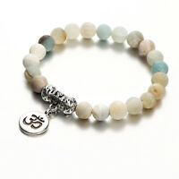 Mode Rune Strang Naturstein Armreif Manschette Yoga Perlen Anhänger Armbänder HQ