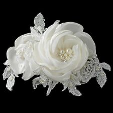 Ivory Satin Lace Tulle Fabric Rose Pearl & Rhinestone Bridal Wedding Hair Clip