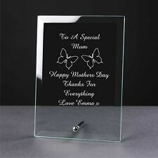 Personalised Engraved Glass Mothers Day Gift Plaque, Mum, Mom, Mummy Nan Gift