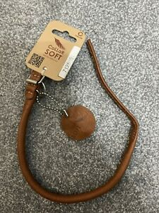 Collar Rolled Real Soft Genuine Leather Toy Dog Collar TAN Small 10mm x 33-41cm