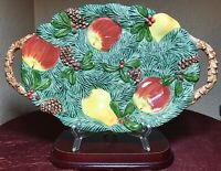 "Vintage 1991 FITZ & FLOYD 12.5"" CANAPE PLATE TRAY PEAR APPLE PINE GREEN MINT"