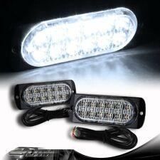 2X White 12-LED Car Truck Emergency Flash Warn Beacon Strobe Lights Universal 6
