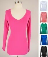 Women's Basic Cotton V-Neck Long Sleeve Knit Top T-Shirt Fitted Plain Stretch