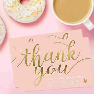 50 Pieces Pink Thank You Card Businesses Greetings Praise Labels Nice Y4L9