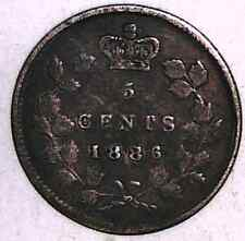 """1886, small """"6"""", FINE Canadian Five Cents Silver #1"""