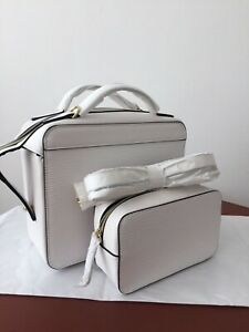 Estee Lauder White Textured Lined Cross Body Bag Set with separate purse/bag New