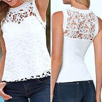 Women Casual Tops Vest Blouse Sleeveless Lace T-Shirt Crop Top Summer Shirts Tee