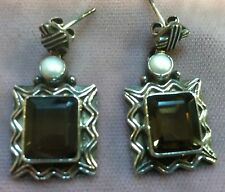 Smoky Topaz Pearl Sterling Silver Earring