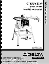 """Delta 10"""" Table Saw Instruction Manual for Model No. 36-550 - 36-560"""