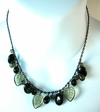 ELEGANT BLACK STONE AND GREEN LEAF CHOKER/ NECKLACE BRAND NEW FAST DELIVERY (A1)